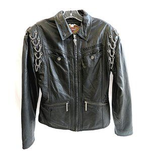 Vintage Black Leather Harley Davidson Jacket S